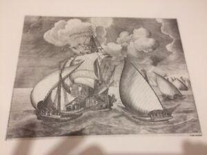 Gravure-LITHOGRAPHIE-XXe-Marine-bateau-FH-Bruegel-papier-ARCHES-n-4