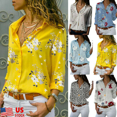 Women Lapel Short Sleeve Floral Button Down Shirt OL Loose Blouse Casual Tee Top