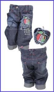 Bnwt-Filles-Denim-Cropped-Jeans-Avec-Apple-dote-d-039-un-Applique-Age-3-4-ans-seulement