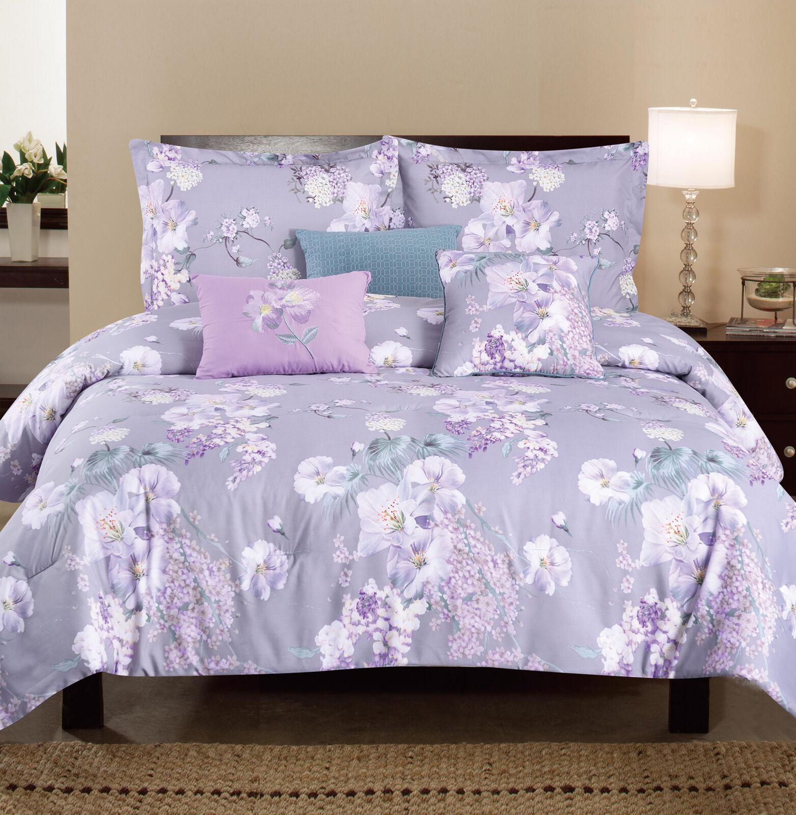 6PC Puple Flower with Leaves Printed Floral OverGröße+Overfilled Comforter Set