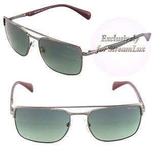 e98cb36242 PRADA Sunglasses SPR 50Q LAI-2D0 3N Square Polished Gunmetal Grey ...