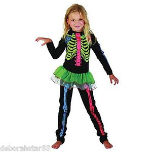 Halloween Costumes For Girls Age 13.Details About Girls Skeleton Halloween Fancy Dress Costume Neon Jumpsuit Age 4 13 Years