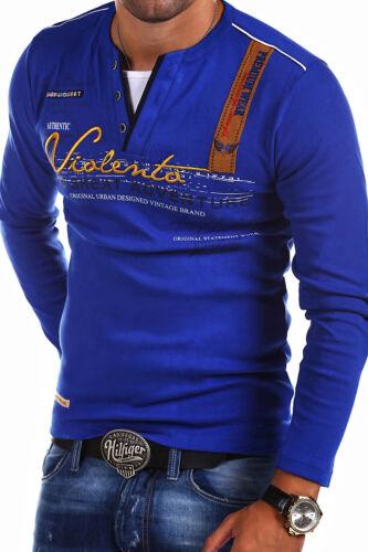 Herren 2in1 V-Pullover Longsleeve Sweatshirt Schwarz//Weiß//Grau//Blau NEU G.B.D