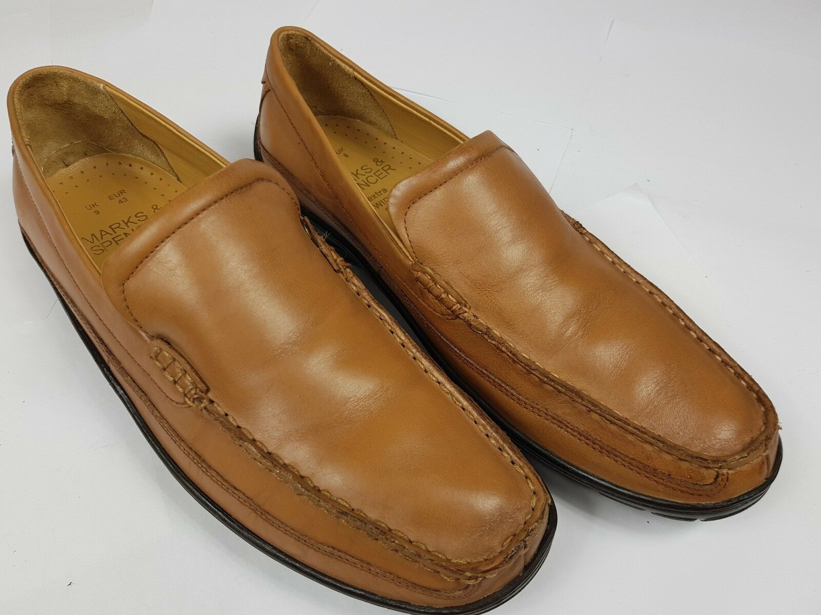 M&S Loafers Mens Casual Tan Brown Sip On Loafers M&S Extra Wide - Pre-worn 140c80