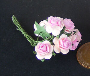 1:12 Scale 1 Bunch (10 Flowers) Of Pink Paper Roses Tumdee Dolls House E