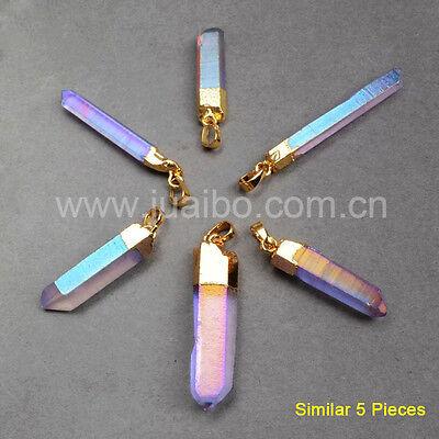 Wholesale 5Pcs Aura Titanium Quartz Crystal Point Pendant Gold Plated HOT BG0360
