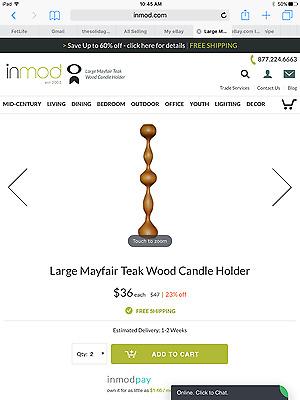 "14/"" NEW Pair Bahari Teak Mayfair Candleholder Danish Modern//Mid-Century Modern"