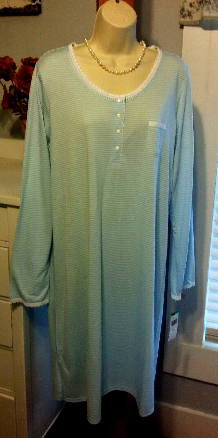 NWT L Large Miss Elaine Nightgown Gown  NEW bluee White Beachy Comfy
