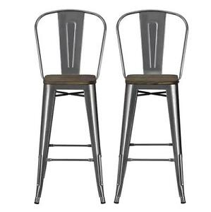 Dorel Home Products Luxor 30 Metal Bar Stool With Wood Seat Set Of
