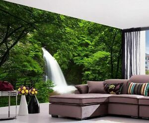 Image Is Loading Deep Forest Waterfall Nature Full Wall Mural Photo