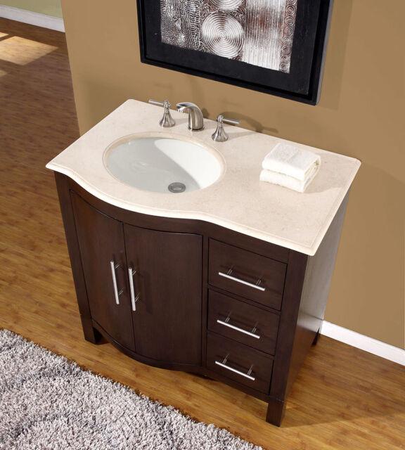36 0912cm Marble Stone Top Single Bathroom Vanity Cabinet Left