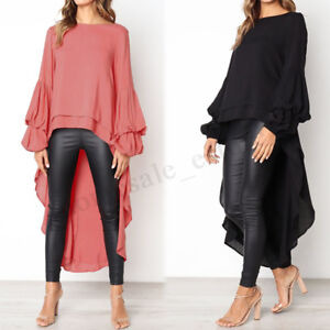 Women-Round-Neck-Casual-High-Low-Shirt-Tops-Waterfall-Asymmetrical-Blouse-Plus