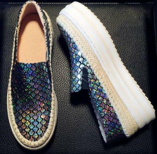 Womens Fashion Sneakers Sequins Casual Slip On Casual Platform Loafers Shoes