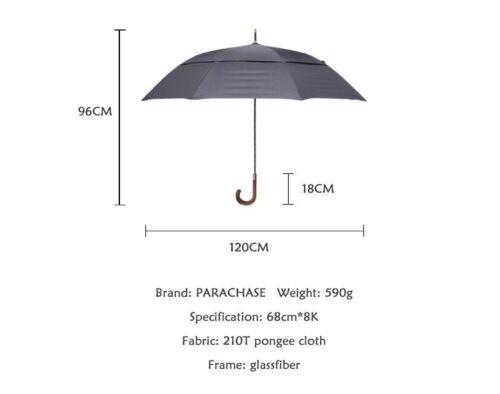 Large Long Rain Umbrella Men Women Double Layers Windproof Wooden Handle Stretch