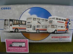 1-64-Corgi-Stagecoach-Set-Plaxton-Paramount-Metrobus-und-AEC-Routemaster-97065