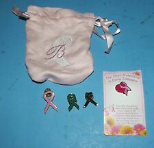 Mixed Lot of 5 Pinbacks & Pink Bag, Early Detection Breast Cancer Bag & Pins