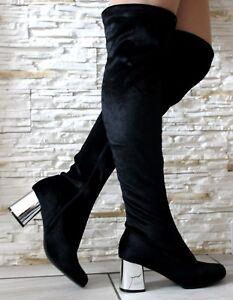 Detalles de Señoras Negras A La Rodilla Muslo Botas Altas Tacón De Bloque Cremallera Zapatos Botas Talla 3 ver título original
