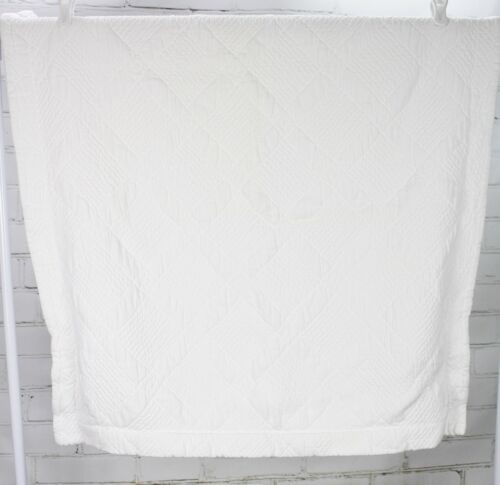 POTTERY BARN Euro Size Pillow Sham White Quilted Heavyweight 100/% Cotton