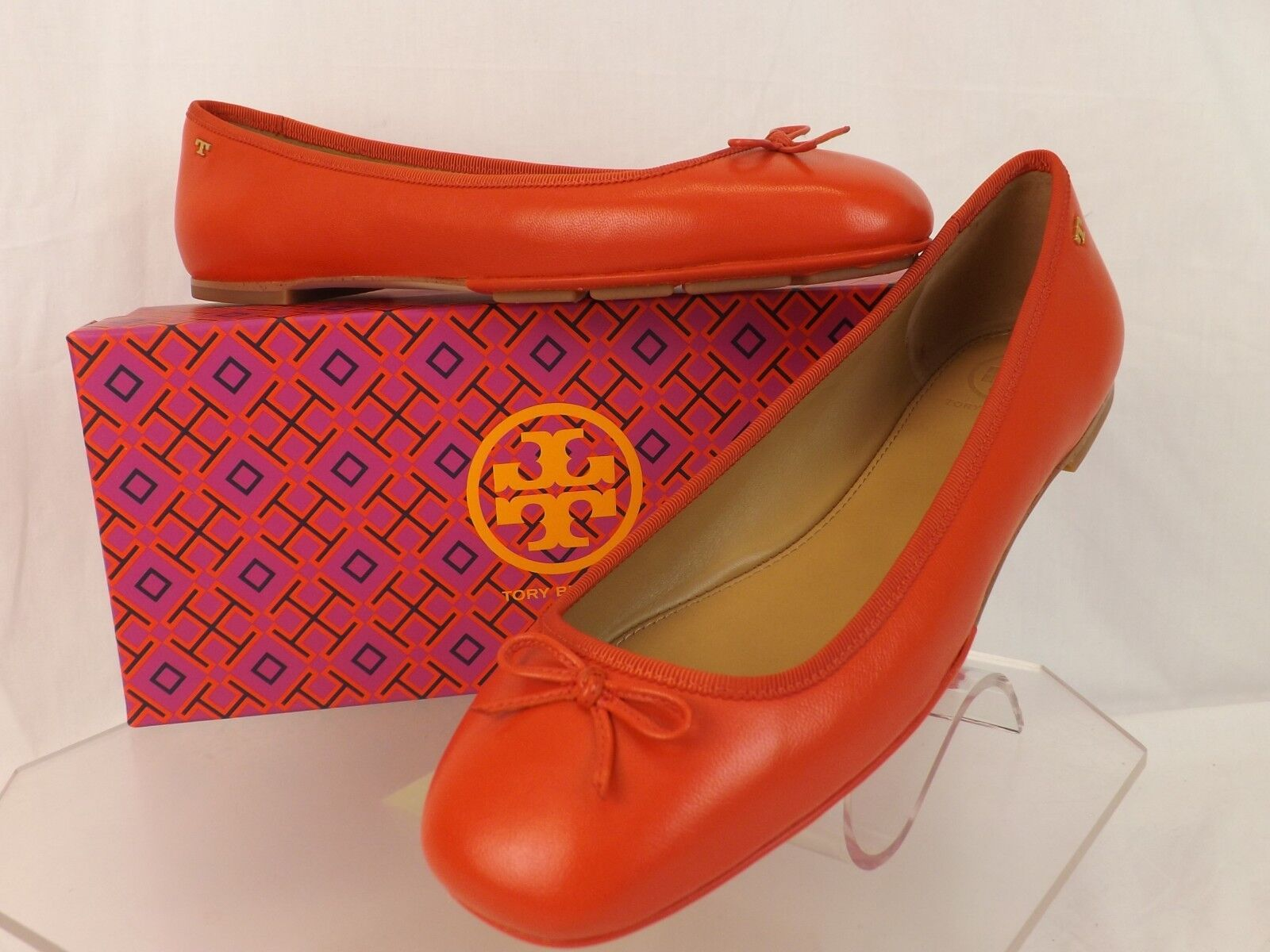 TORY BURCH POPPY orange LEATHER LAILA 2 BOW DRIVER gold REVA BALLET FLATS 8