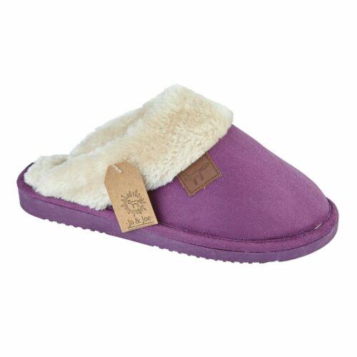 Ladies Womens Slip On Warm Winter Hard Sole Faux Suede Fur Lined Slippers Mule