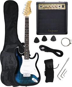 Crescent BLUEBURST Electric Guitar+15w AMP+Strap+Cord+Gigbag NEW