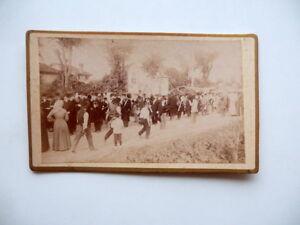 Fotografia-Originale-Festa-Processione-Banda-Musicale-Carte-de-Visite-1870-Circa