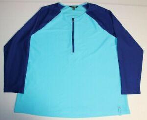 Womens-Lauren-Ralph-Lauren-1-2-Zip-Long-Sleeve-Shirt-Top-Pullover-x2-Teal-Blue