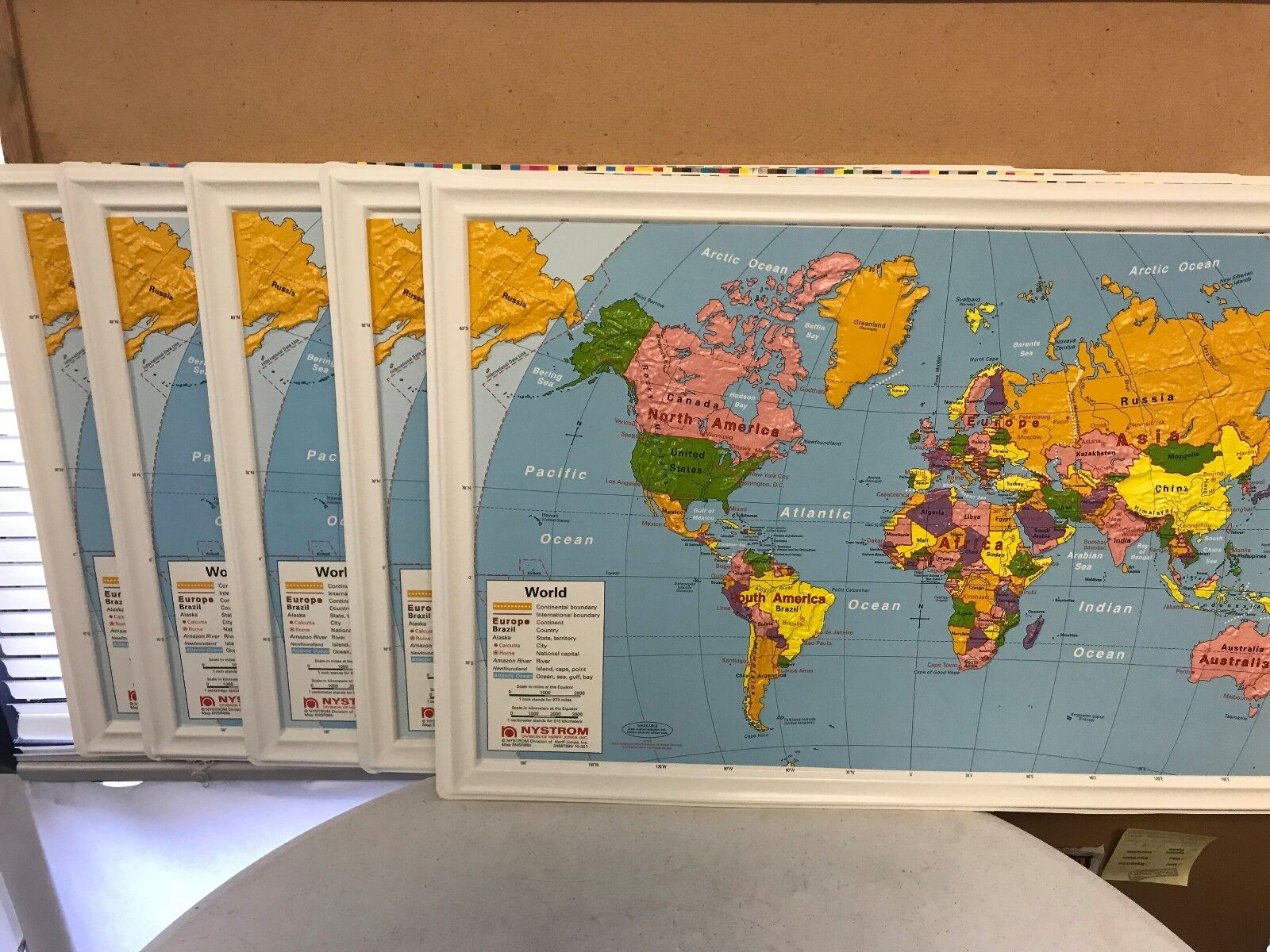 Brand New Lot of 5  Nystrom Raised Relief Bright Couleurs Maps of the World