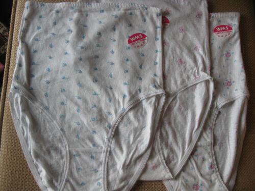 Pair of  Ladies Full Cotton Briefs White small floral pattern WMS OS XOS XXOS