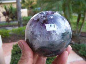 Amethyst-Agate-Geode-Sphere-Highly-Polished-Quartz-Face-w-FREE-SHIPPING