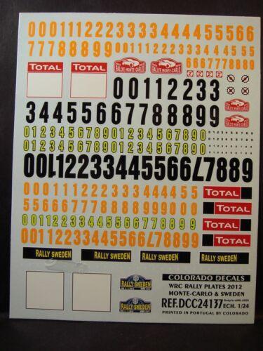 MONTE CARLO // SUEDE COLORADO  24137 DECALS 1//24 PLAQUES RALLYE WRC 2012