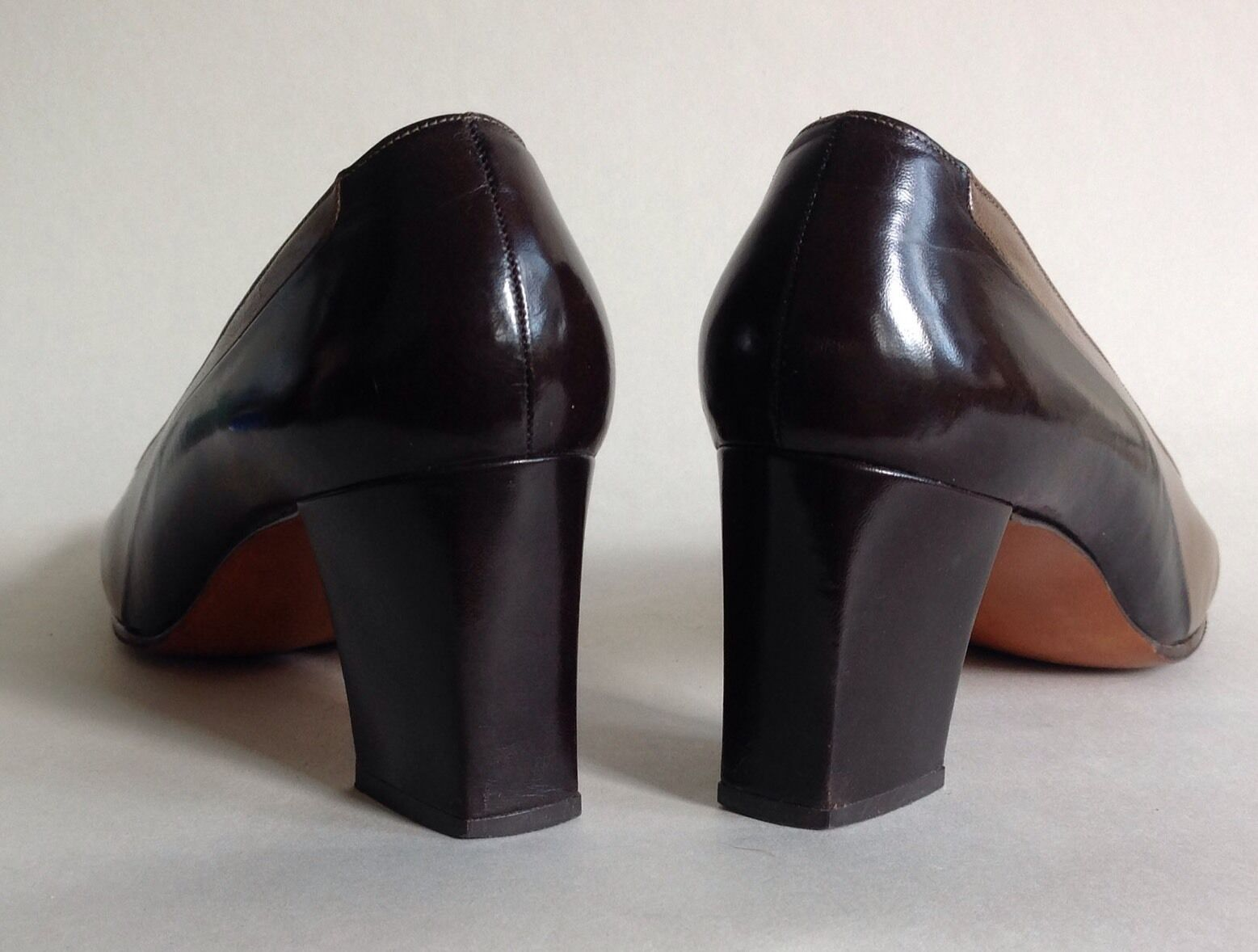 Bally Bellezza Bellezza Bellezza Brown & Taupe All Leather Mid Heel Court shoes UK 3.5 E EU 36.5 E 4ccad9