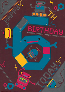 Image Is Loading HAPPY 6TH BIRTHDAY CARD ROBOTS THEME TOP QUALITY