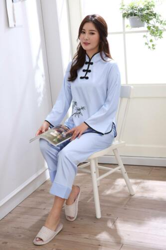 New Chinese Style Women Silk Pajamas Sets Sleepwear Nightdress Nightgown #818