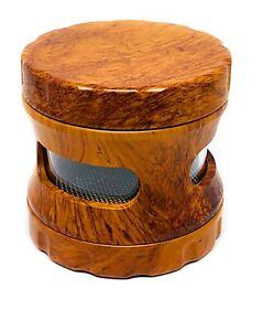 Grinder bois avec fenêtre 63 mm 4 parties Broyeur Moulin épices tabac Exp 🇫🇷