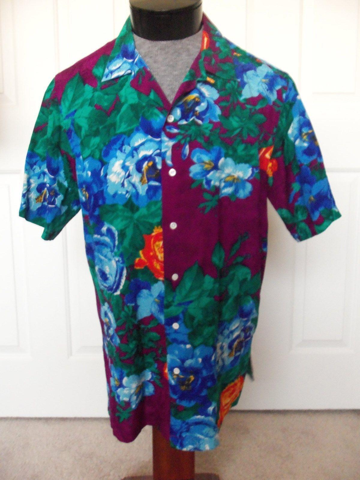 Vintage POLO Ralph Lauren Silk Multi color Floral Short Sleeve Camp Shirt - S