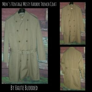 Vintage-Misty-Harbor-Dress-Coat-Tan-Double-Breasted-Trench-Removable-Lining-40-S