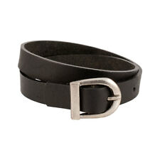Black Smooth Leather Double Wrap Belt Buckle Bracelet New Cool Wristband Cuff