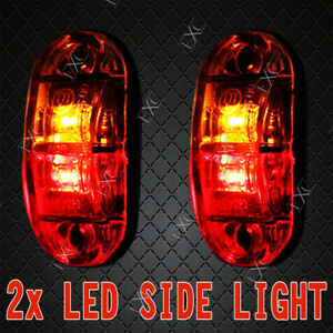 2X-LED-SIDE-MARKER-TRAILER-CLEARANCE-LIGHT-LIGHTS-LAMP-LAMPS-12V-24V-RED-AMBER