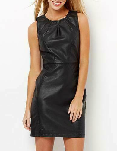 Women-039-s-Party-Wear-100-Real-Leather-Dress-Cocktail-Sexy-Black-leather-top-Dress