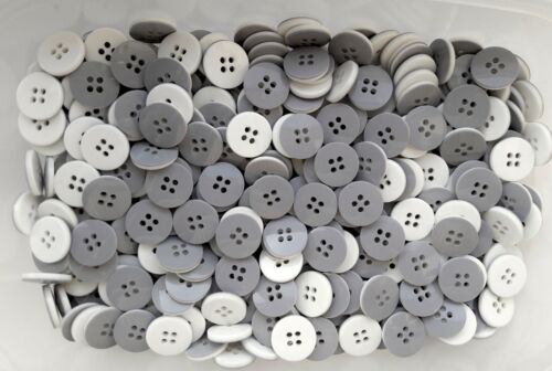 18mm 28L Light Grey /& Ivory White 4 Hole Craft Jacket Sewing Button Buttons S174
