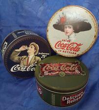 3 x Vorratsdosen Coca Cola Blech Dose Retro Aufbewahrung Vintage Neu Rund