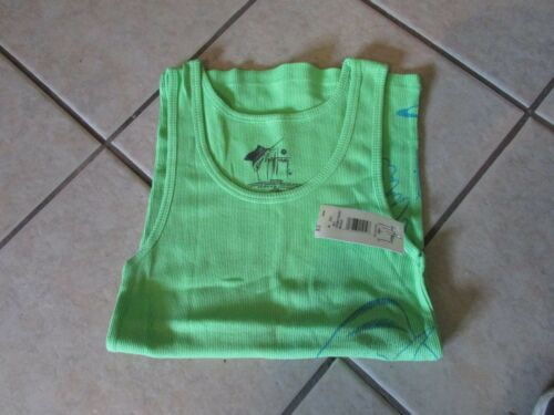 Medium 6 T 100/% Cotton Women/'s Guy Harvey Leaping Dorado Tank Top Lime