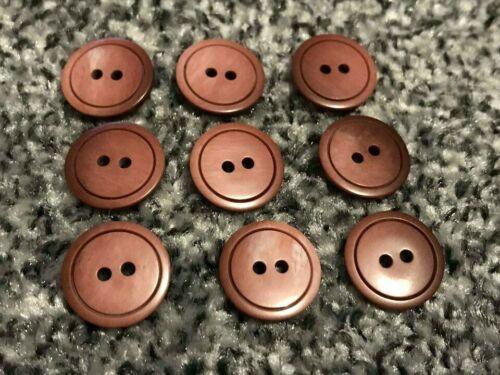 6 un Redondo dos tonos de marrón Borgoña botones de 2 agujeros 17mm