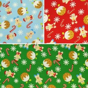 Sale-100-Cotton-Fabric-By-Fabric-Freedom-Christmas-Sweet-Treats-Gingerbread-Men