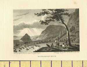 1792 Antiguo Georgiano Estampado ~ Dunbarton Roca Escocia