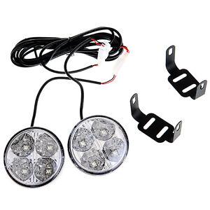 2pcs-White-12V-4-LED-Round-Daytime-Running-Light-DRL-Car-Fog-Day-Driving-Lamp-UK