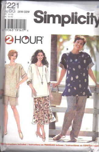 7221 UNCUT Vintage Simplicity Sewing Pattern Womans Top Pants Shorts Skirt PL SZ