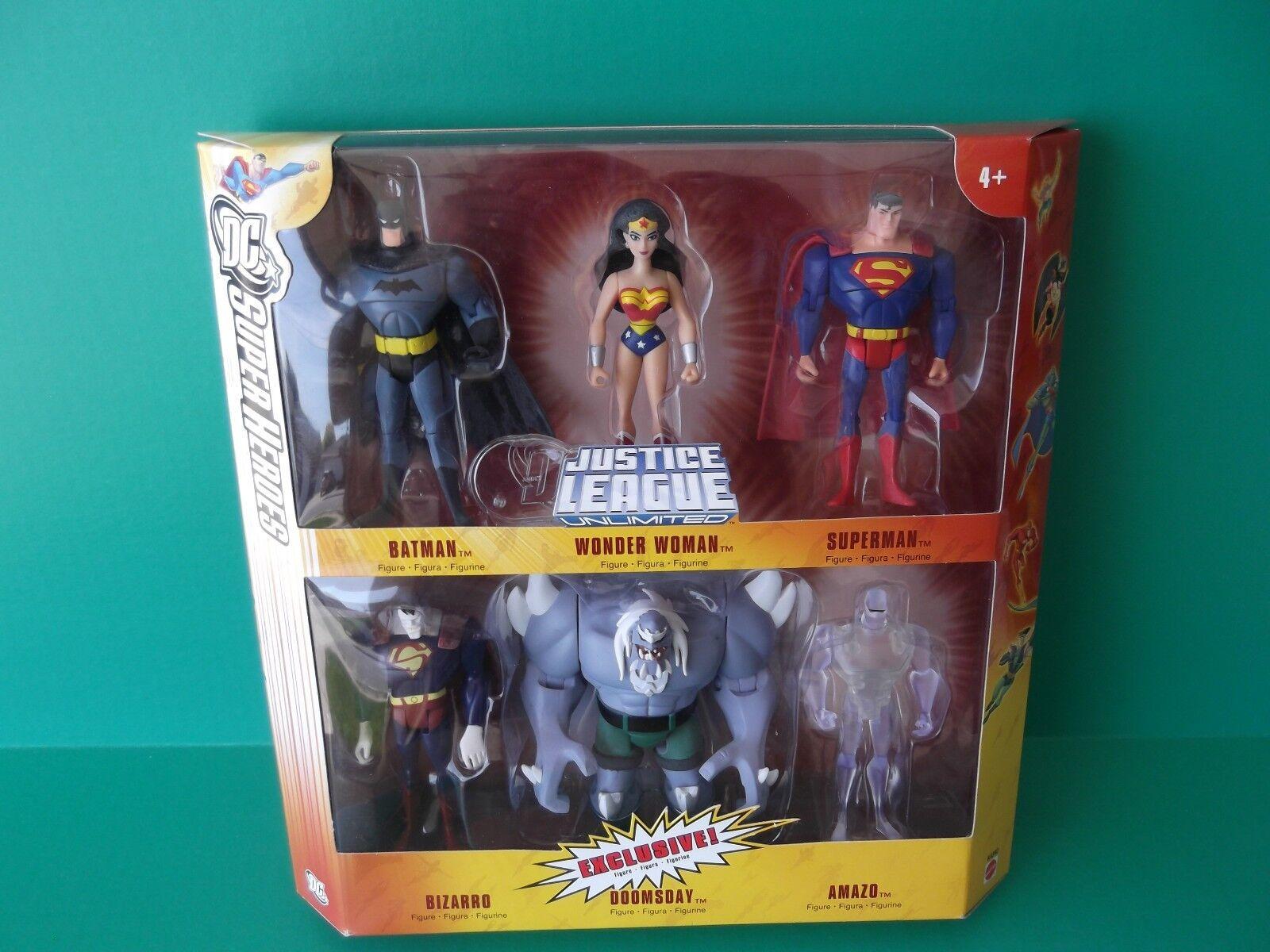 DC  SUPER HEROES 6 FIGURE SET BATMAN, SUPERMAN,DOOMSDAY EXCLUSIVE 5 IN
