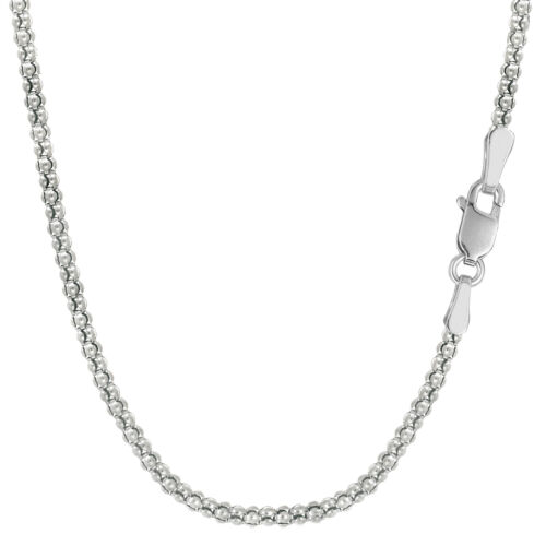 1.8mm Details about  /925 Sterling Silver Rhodium Plated Fancy Popcorn Rope Chain Width